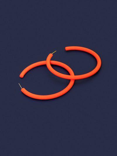 Pendientes Hula Hoop naranja neón con fondo