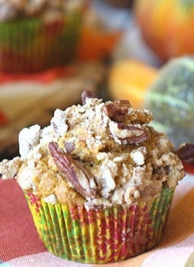 These Pumpkin Pecan Crunch Muffins combine a delicious pumpkin muffin with a crunchy pecan streusel topping. These pumpkin muffins are the perfect snack for any time of the day.