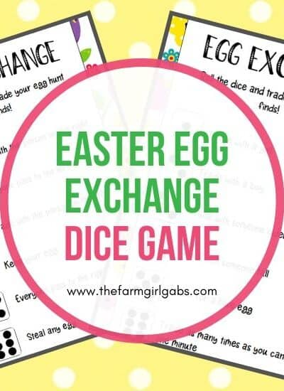 Hop into the Easter holiday with this fun Easter Egg Exchange Dice Game that kids can play. Download and print a copy of these Easter cards. This is a fun game for the kids to play after an Easter egg hunt. This game will let them trade or keep the eggs they found. If they didn't go on an egg hunt, you can provide some filled eggs for them to play with. #eastergame #eastercraft #kidsgame