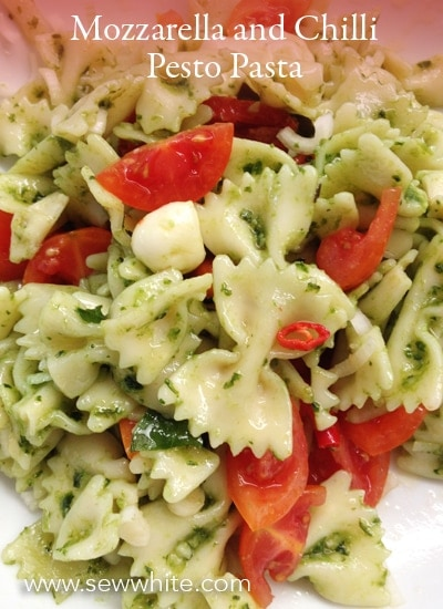 Sew White Mozzarella and Chilli Pesto Pasta Recipe 1