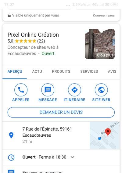 Pixel Online Google Business mobile