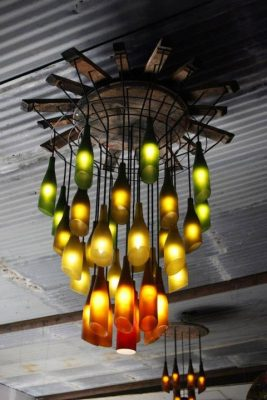 Rustic Wine Bottle and Half-Barrel Chandelier