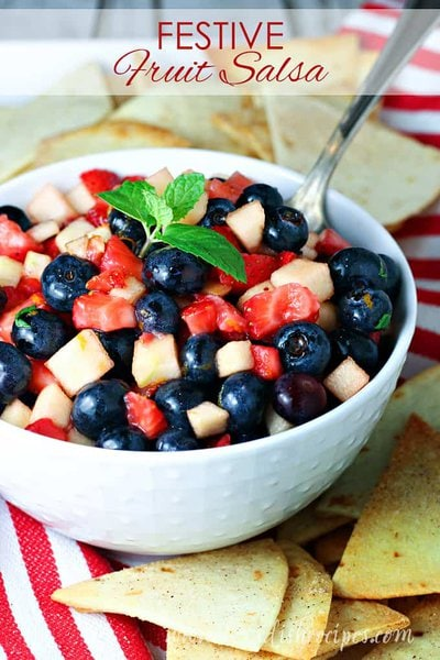 Festive Fruit Salsa with Homemade Cinnamon Chips