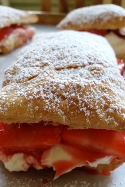 hero shot strawberry cheesecake puffs