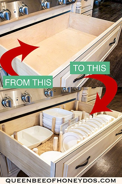 dish drawer organizer before and after
