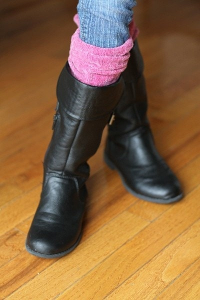 boot socks from sweater sleeves