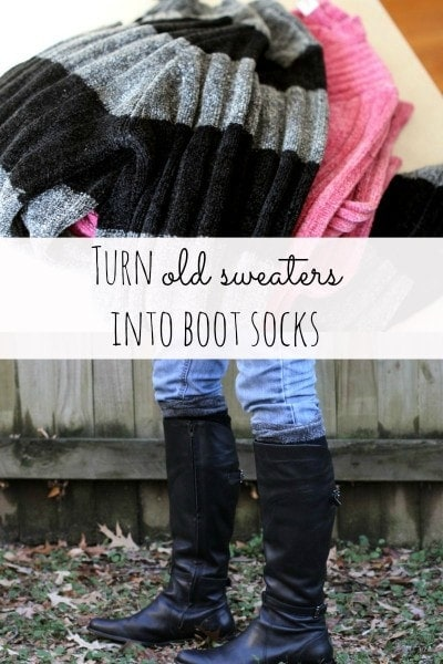 Make boot socks from old sweaters