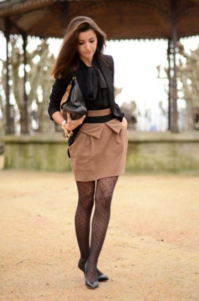 Work Outfit with Polka Dot tights