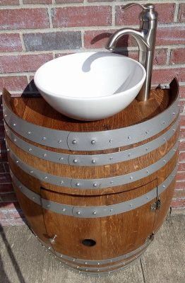 French Oak Wine Barrel Bathroom Vanity table with White Porcelain Sink and Nickel Faucet