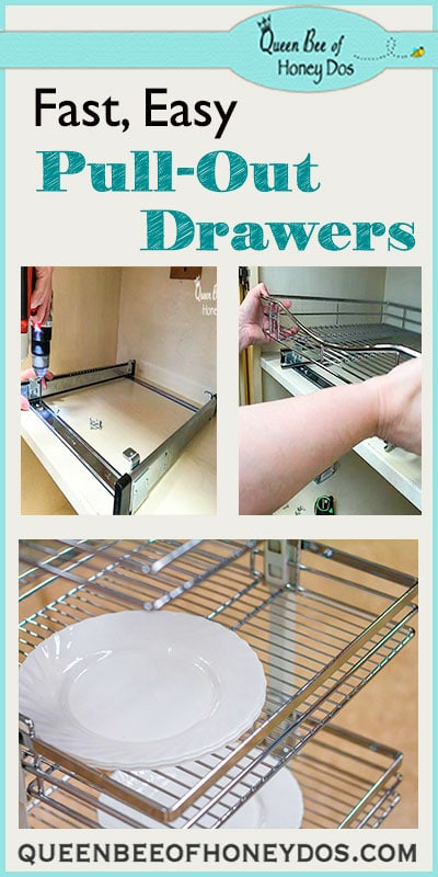 Easy Way to Add Pull-Out Drawers to Bottom Cabinets - For Home Improvement, these are the absolute easiest pull-outs to install! Great way to add storage and organize your drawers and kitchen.