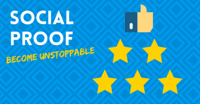 """illustration with words, """"social proof, become unstoppable"""""""