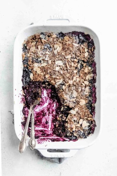 easy and healthy vegan blueberry crisp for all your fresh blueberries