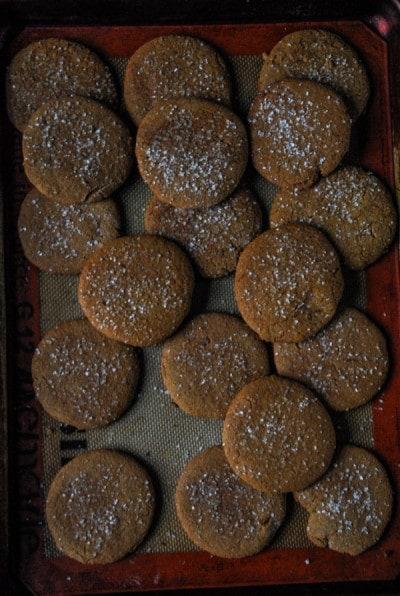 Crispy Vegan Gingerbread Cookies on baking tray