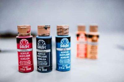 acrylic paint bottles