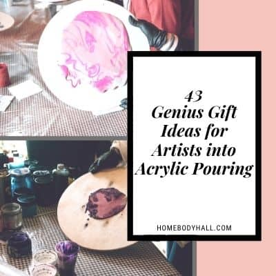43 Genius Gift Ideas for Artists into Acrylic Pouring with two photos of pour painting on round wood canvases