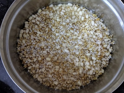 Soaking the ingredients for oats dosa