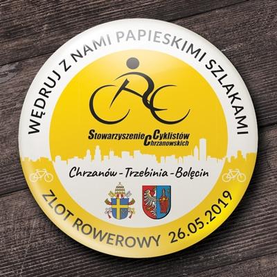 przypinka papieska biało żółta stowarzyszeni cyklistów zlot rowerowy