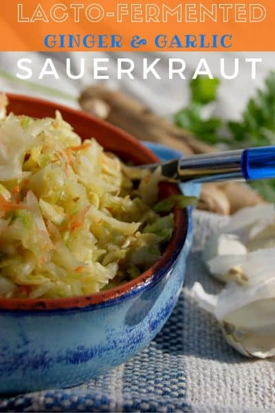 This lacto-fermented sauerkraut is filled with beneficial bacteria to give your immune system a big boost! #healthyrecipes #sauerkraut #organic #fermented