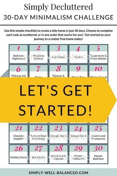 30 Day minimalism challenge printable pdf