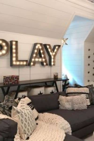 Cozy Boho Black and White Playroom
