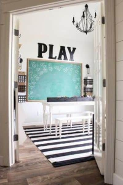 Shabby Chic Black and White Playroom