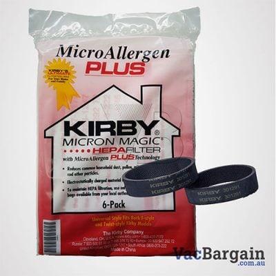 Two Genuine Kirby Belts plus Genuine Kirby's Ultimate Filtration Bags, MICRON ALLERGEN PLUS