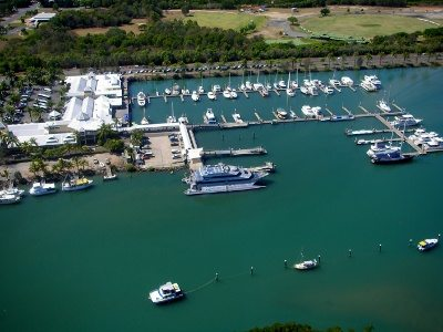 Port Douglas Marina from a helicopter