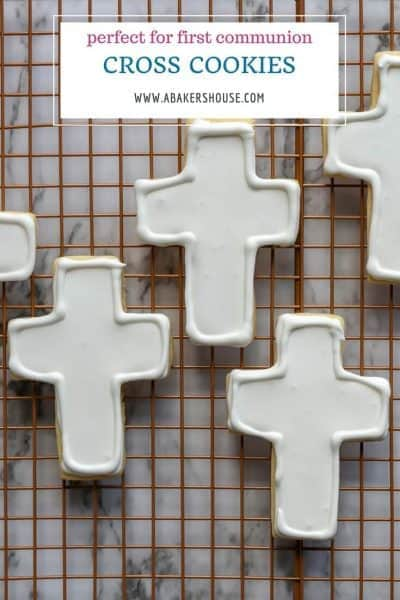 Basic cross cookies decorated white royal icing