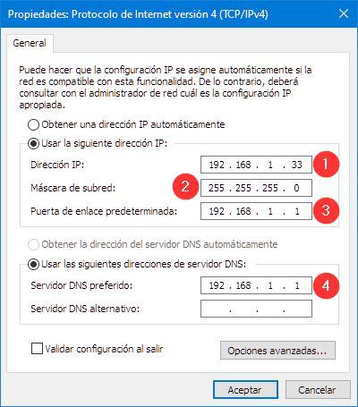 Cambiar IP Windows 10 manualmente