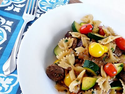 Sweet Italian Sausage Pasta Toss | This dish was a hit with the entire family. It was the perfect way to use up late summer veggies from the garden. Fresh herbs make it exceptional!