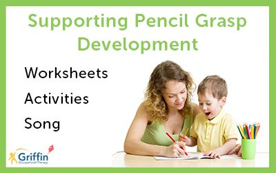 mother and child writing text supporting pencil grasp development