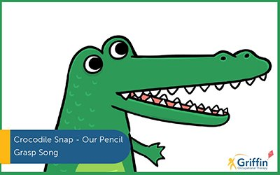 cartoon of a crocodile and text crocodile snap our children's song