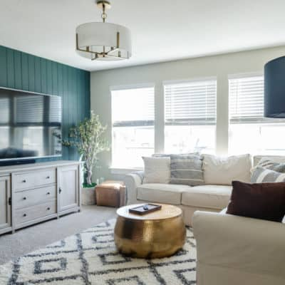 cozy family room with a large sectional