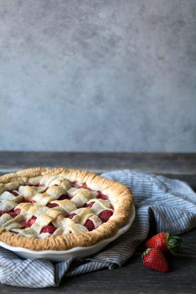A photo of strawberry pie