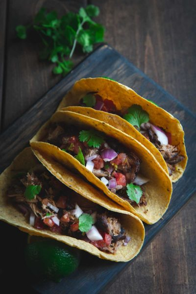 Mexican Pulled Pork Carnitas in corn tortillas
