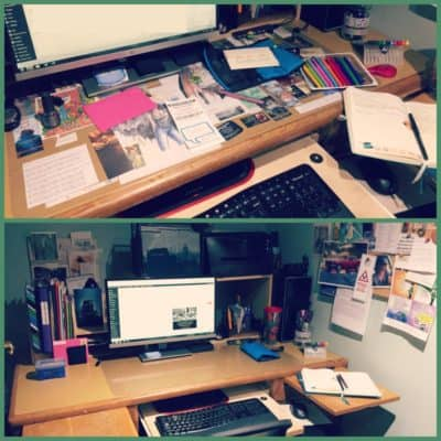 A collage with two pictures of the same desk: in the top picture the desk is cluttered; in the bottom picture the desk is clean