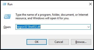 run command and reregistering DLL