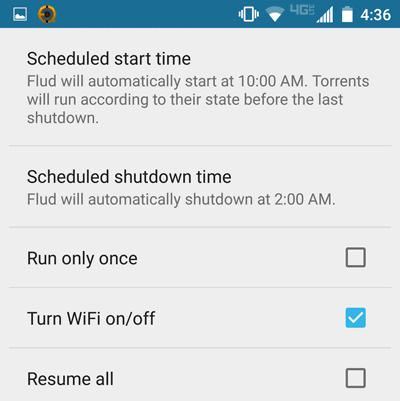 Flud torrents scheduling settings