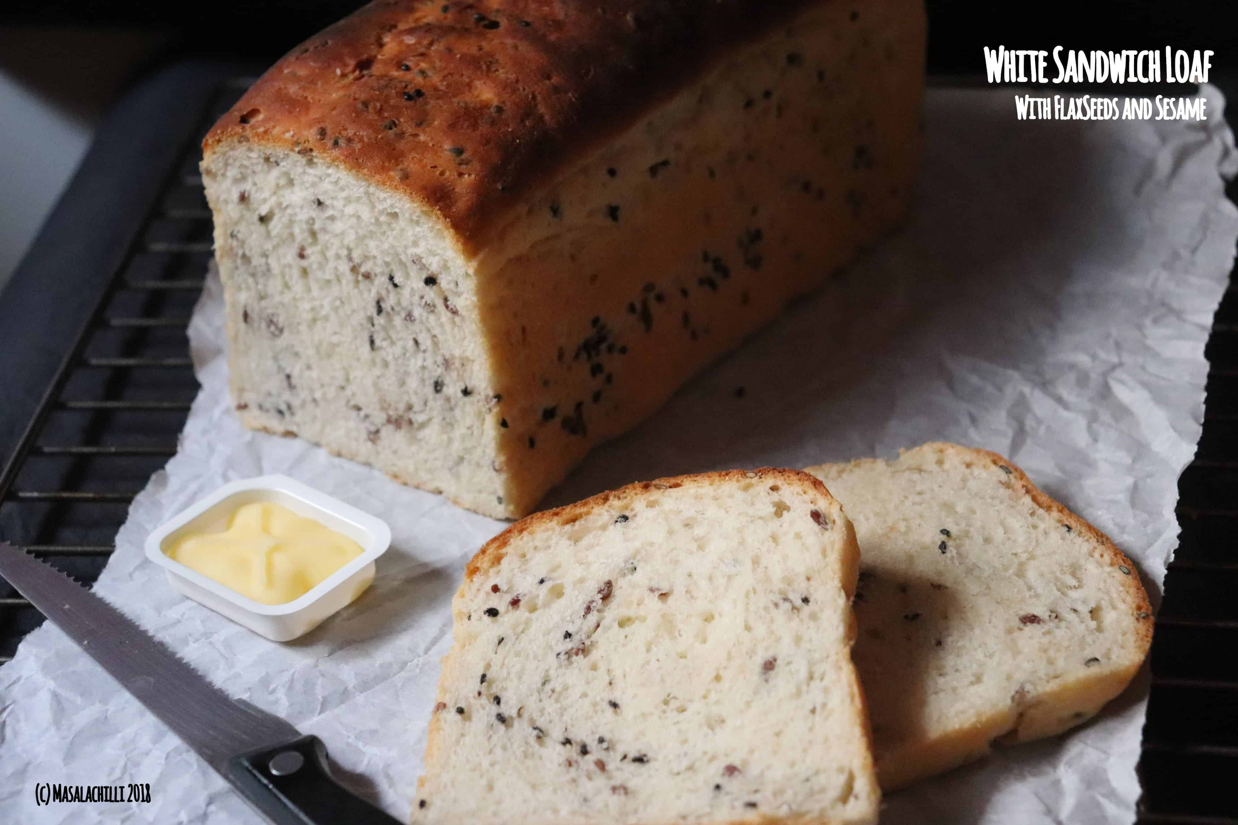 White Sandwich Bread with Flax and Sesame seeds