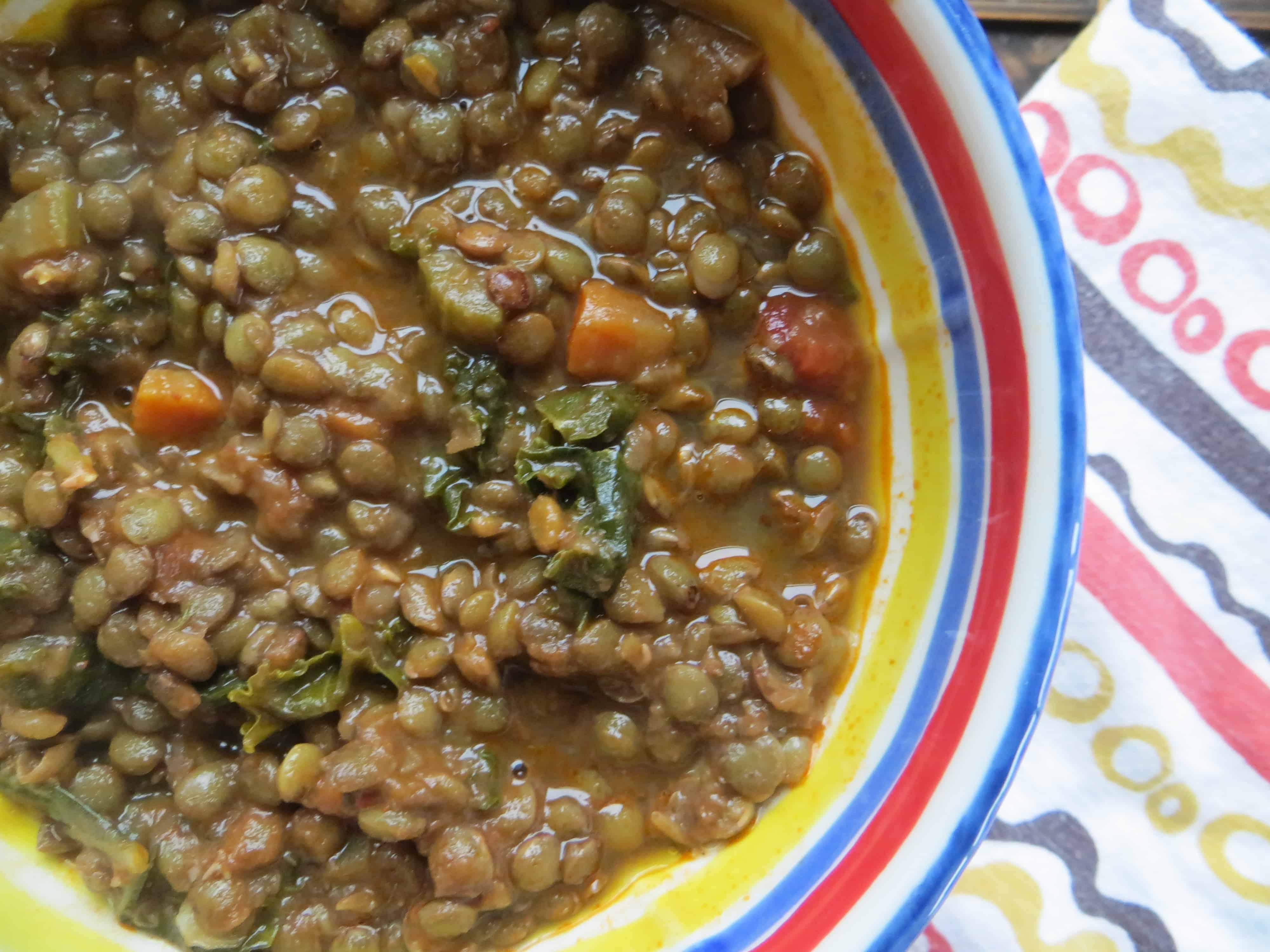 Super easy lentil kale soup