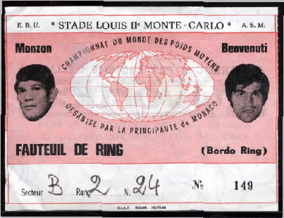 A picture of the ticket for the world middleweight championship in Paris