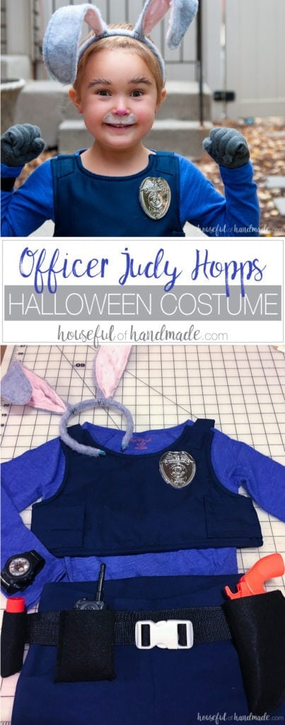 Officer Judy Hopps ready for duty! This is the perfect halloween costume for a strong little (or big) girl. See how easy it is to make an Officer Judy Hopps Halloween costume, complete with Fox Away! | Housefulofhandmade.com