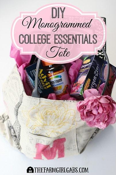 Monogrammed College Essentials Tote - Pinterest 1
