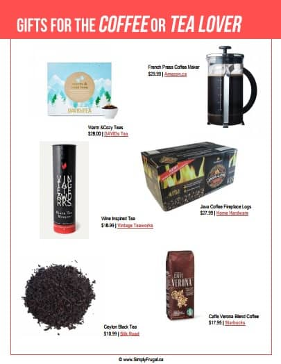 Gift ideas for the Coffee or Tea Lover. $30 or Less!