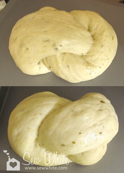 Pesto Bread tied into knots ready to bake after it's second prove