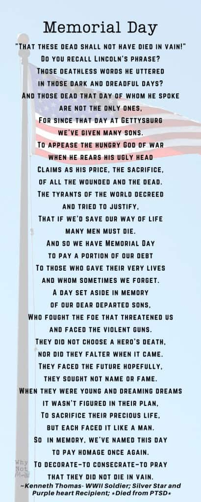 Memorial Day poem by Kenneth Thomas WWII Soldier who was awarded a Silver Star and Purple Heart. He died from PTSD