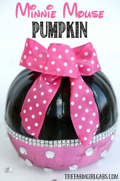 This adorable no-carve DIY Minnie Mouse Pumpkin is a kid-friendly Disney Halloween craft.