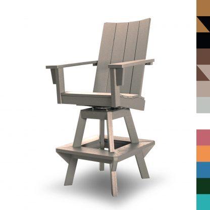 Swivel Bar Height Chair Weatherwood