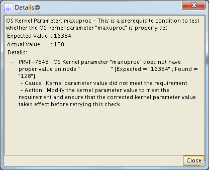 "PRVF-7543 : OS Kernel parameter ""maxuproc"" does not have proper value on node"