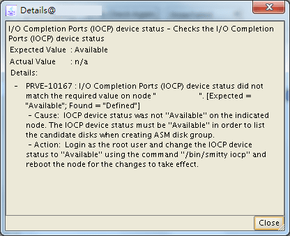PRVE-10167 : I/O Completion Ports (IOCP) device status did not match the required value on node